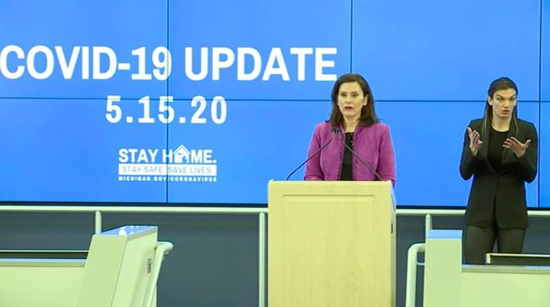 Michigan Gov. Gretchen Whitmer speaks at her May 15, 2020, coronavirus (COVID-19) briefing.