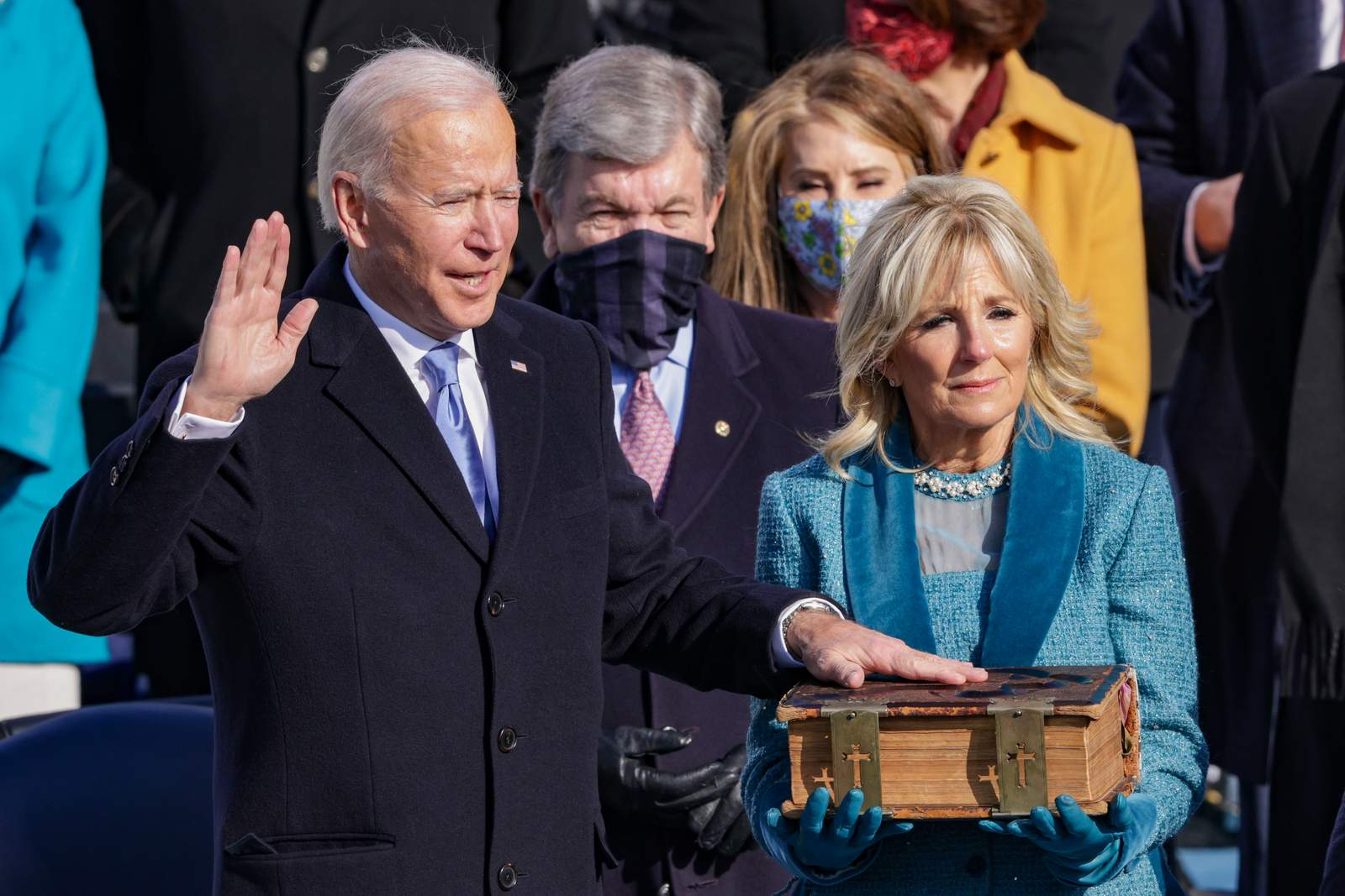 Joe Biden is sworn in as U.S. President during his inauguration on the West Front of the U.S. Capitol on January 20, 2021 in Washington, DC. (Photo by Alex Wong/Getty Images)
