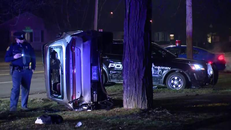 The scene of a rollover crash after a Sterling Heights shooting prompted a police chase through Oakland County, Detroit and Warren on Jan. 10, 2021.