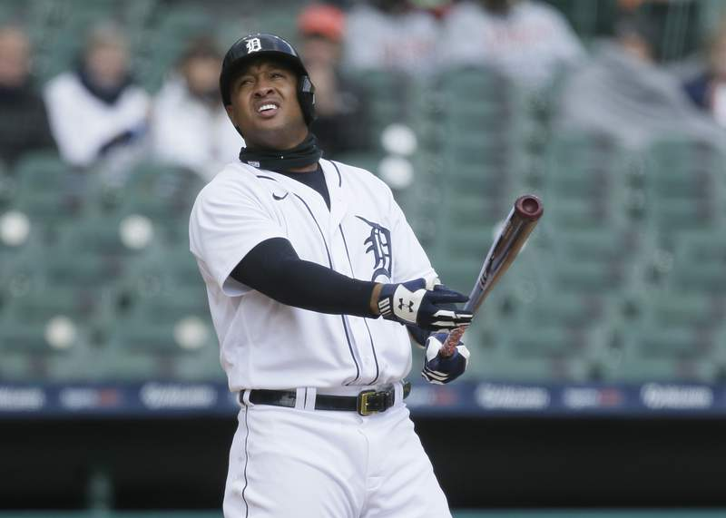 Jonathan Schoop #7 of the Detroit Tigers watches his foul ball while batting against the Pittsburgh Pirates at Comerica Park on April 22, 2021, in Detroit, Michigan.