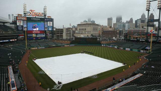 Comerica Park with the tarp on the field.