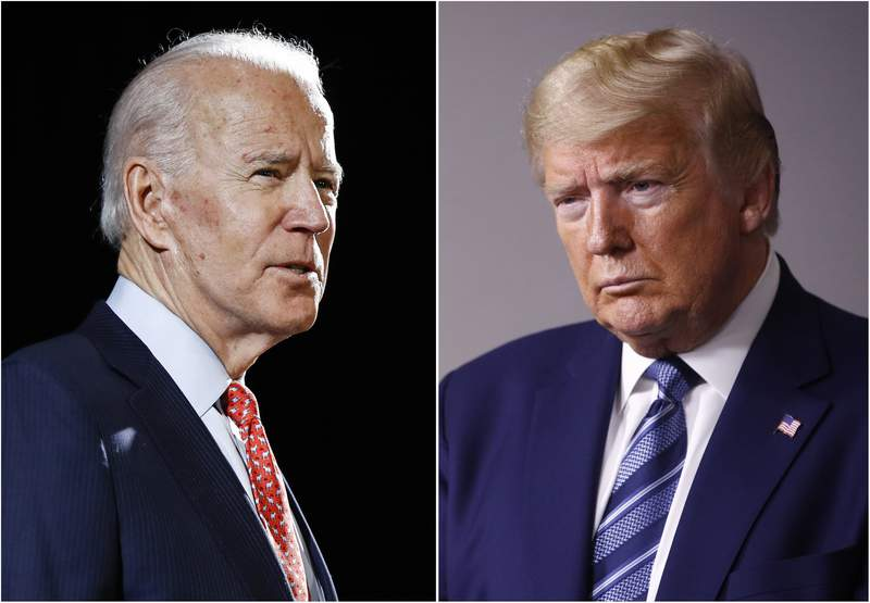 FILE - In this combination of file photos, former Vice President Joe Biden speaks in Wilmington, Del., on March 12, 2020, left, and President Donald Trump speaks at the White House in Washington on April 5, 2020. The level of inconsistency and chaos surrounding Trumps coronavirus response is reaching new heights, as Democrats show new signs of unifying behind presumptive presidential nominee Biden. (AP Photo, File)