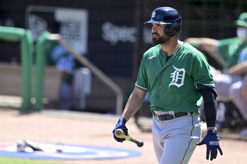 Renato Núñez #55 of the Detroit Tigers walks to the plate during the first inning against the Philadelphia Phillies during a spring training game at BayCare Ballpark on March 17, 2021 in Clearwater, Florida.