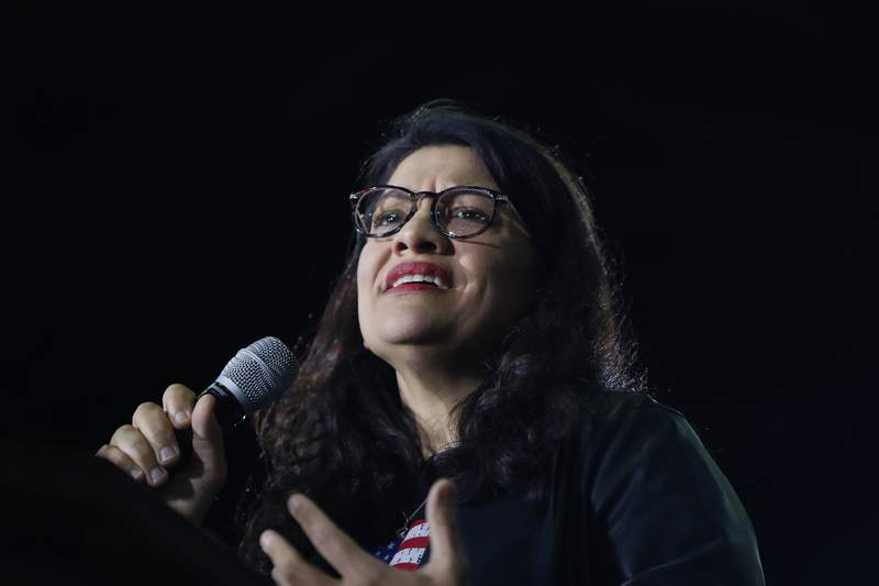 FILE - In this March 6, 2020 file photo, Rep. Rashida Tlaib, D-Mich., speaks at a campaign rally in Detroit. Tlaib won a challenge for her House seat in Michigan's Tuesday, Aug. 4, 2020 primary, in a rematch with the woman she narrowly defeated two years ago. Tlaib, one of the first two Muslim women in Congress, easily secured likely re-election to the 13th District in and around Detroit. Her opponent in the primary was Detroit City Council President Brenda Jones. (AP Photo/Paul Sancya, File)