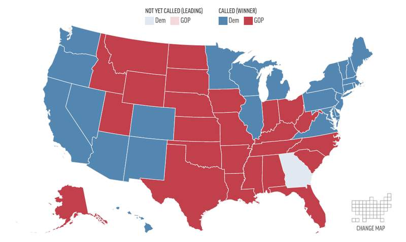 US Electoral College Map on Nov. 13, 2020
