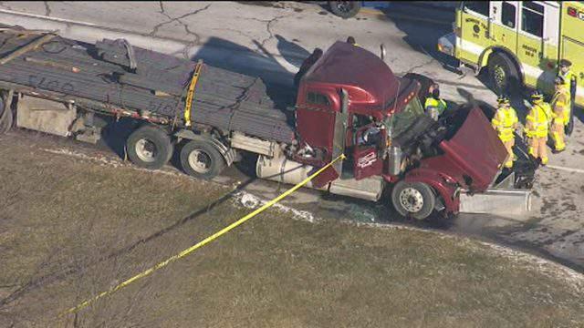 The scene of a semi truck crash in Monroe Township on Jan. 14, 2019. (WDIV)