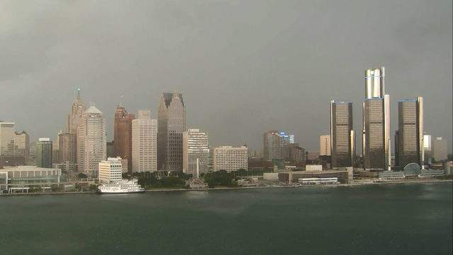 View of Detroit from the Windsor sky camera on July 2, 2019 at 8:00 p.m. (WDIV)