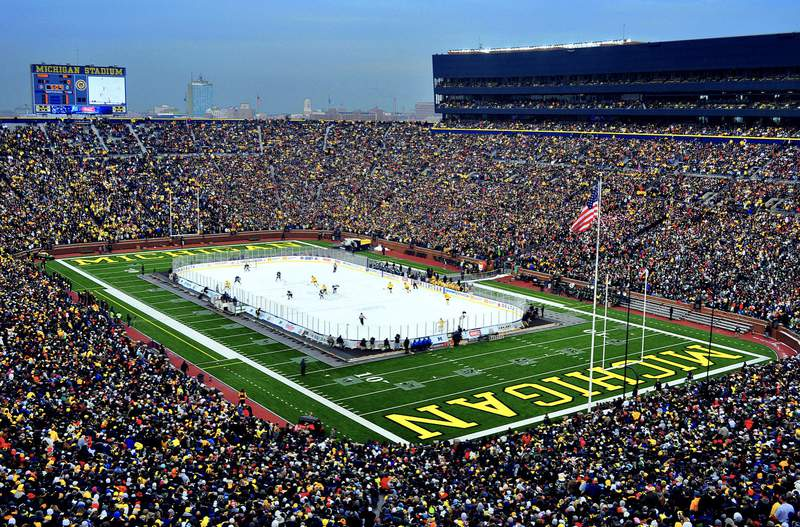 A photo taken from the south western portion of The Big House December 11, 2010 at the Big Chill game. Michigan vs Michigan State.