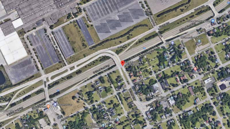 This satellite image shows the East Grand Boulevard bridge over I-94 in Detroit.