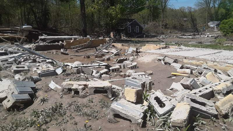 Remains of a home damaged during the mid-Michigan flooding emergency in May.