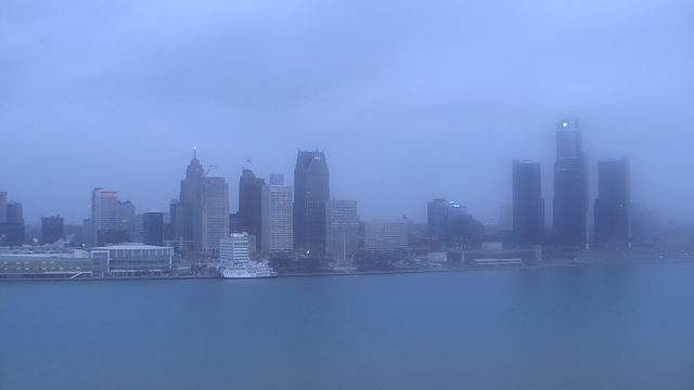 A view of the Detroit riverfront on Dec. 6, 2018. (WDIV)