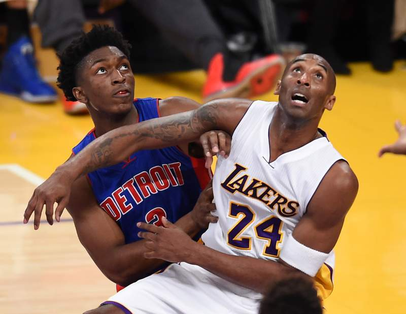 Kobe Bryant (24) of the Los Angeles Lakers and Stanley Johnson (3) of the Detroit Piston fight for a rebound under the Detroit basket, during NBA action, November 15, 2015 at Staples Center in Los Angeles, California.