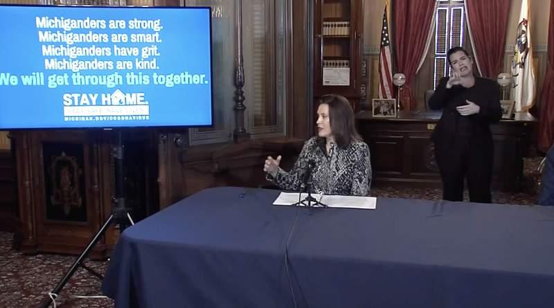 Gov. Gretchen Whitmer during briefing on April 13, 2020.