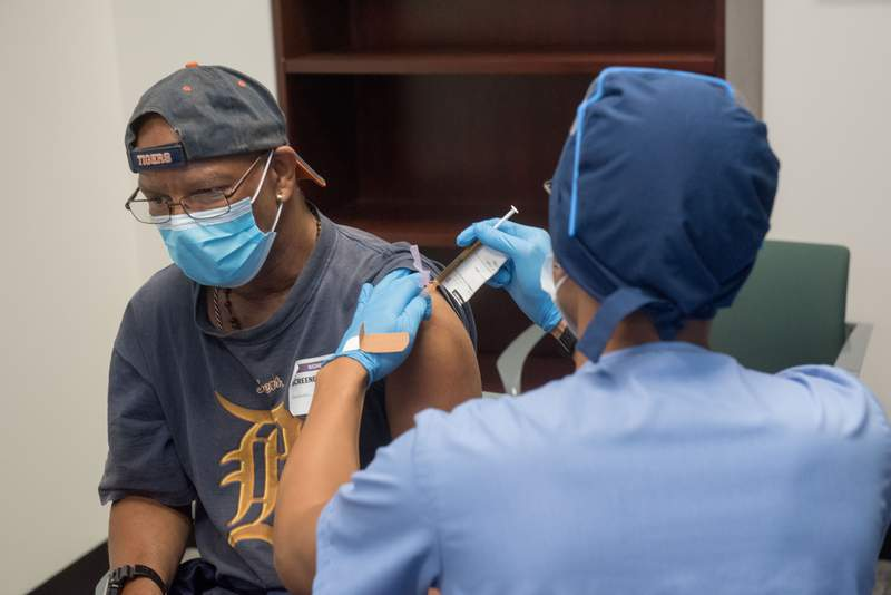 Victor McFadden, 64, of Detroit, is one of the first volunteers in Michigan to receive the first dose for the Moderna COVID-19 vaccine study on Aug. 5, 2020. Photo provided by Henry Ford Health System.