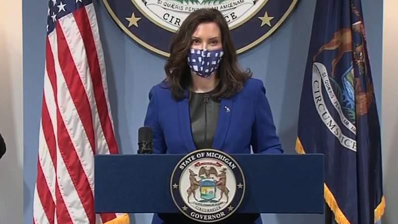 Michigan Gov. Gretchen Whitmer at a March 10, 2021, COVID-19 briefing.