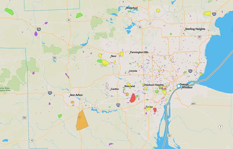 DTE power outage map on June 29, 2021.