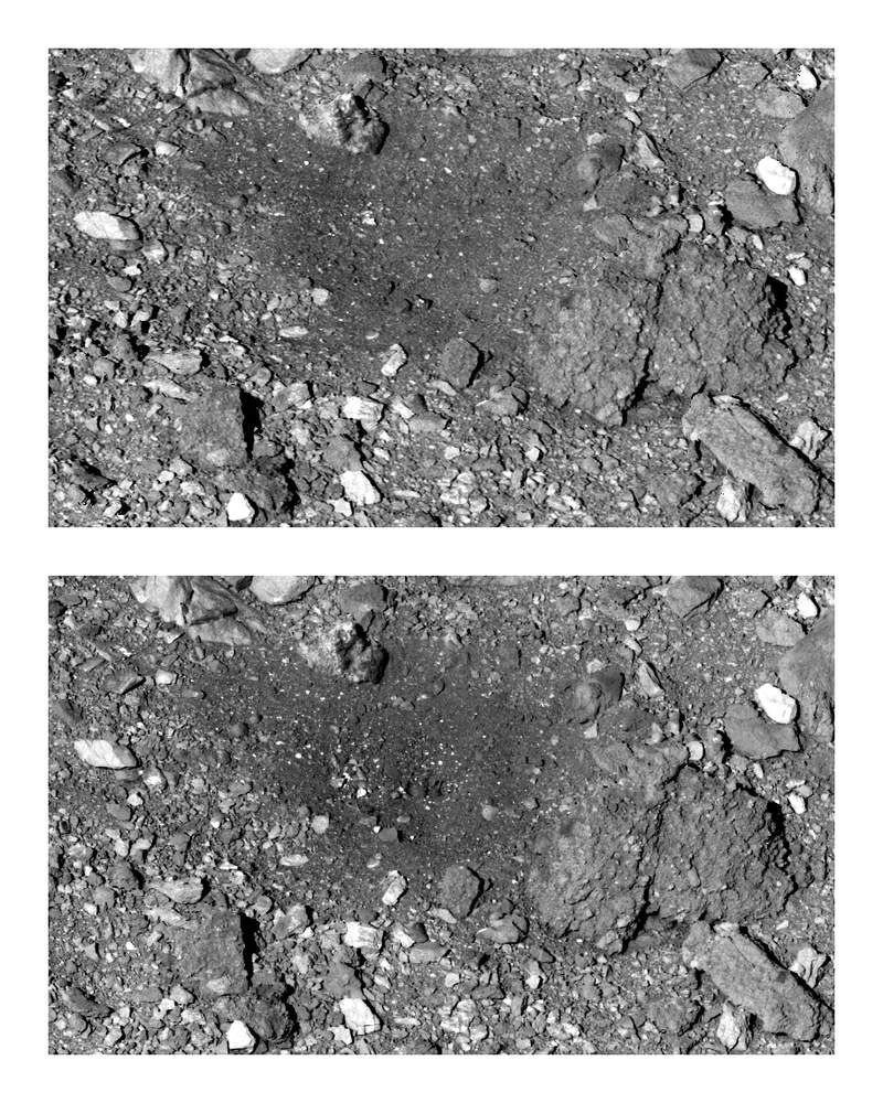 This combination of 2019 and 2021 images made available by NASA shows how the local surface of Bennu changed after the OSIRIS-REx spacecraft took a sample of the asteroid on Oct. 20, 2020. The earlier image, top, was taken on March 7, 2019, and the bottom was taken on April 7, 2021, as part of final observations to document the surface after sample acquisition. The Nightingale site is located in the relatively clear patch just above the crater's center  visible in the center of the earlier image. The large, dark boulder located at the center right measures 43 feet (13 meters) on its longest axis. (NASA/Goddard/University of Arizona via AP)