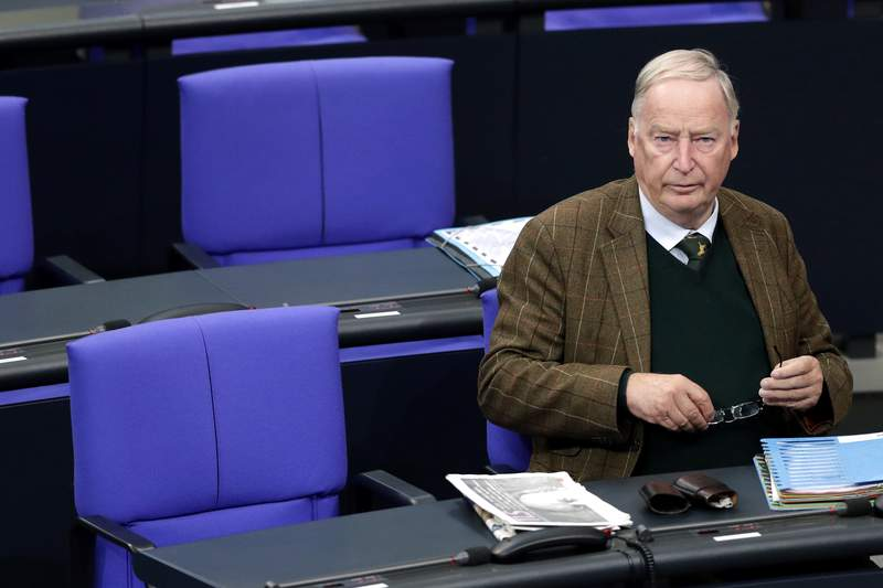 FILE-In this Sept. 27, 2018 file photo file photo Alexander Gauland, faction leader of the Alternative for Germany party, AfD, attends a debate of the German federal parliament, Bundestag, at the Reichstag building in Berlin, Germany. Parliament was asked to lift the immunity of Alexander Gauland, the co-leader of the Alternative for Germany party, to allow for search and seizure decisions ordered by a court to be carried out. (AP Photo/Michael Sohn)