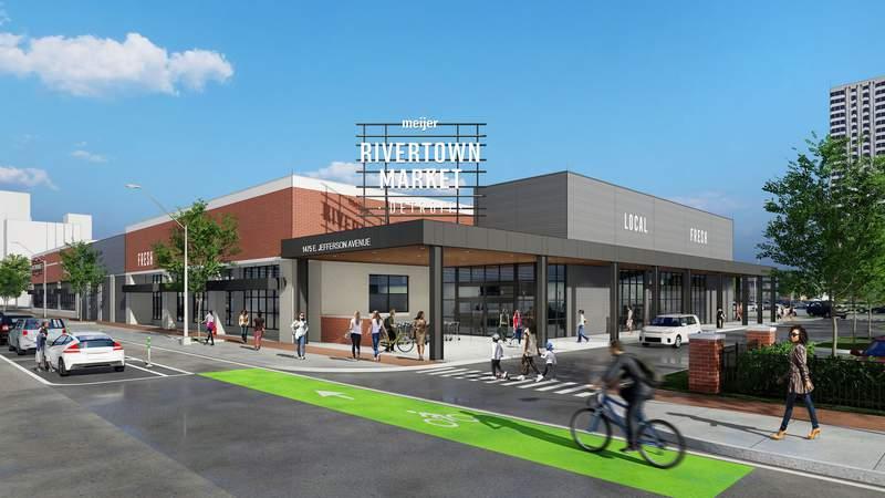 Rendering of Rivertown Market on East Jefferson Avenue in Detroit.