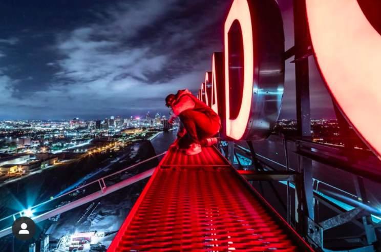 A photographer climbed the Ambassador Bridge.