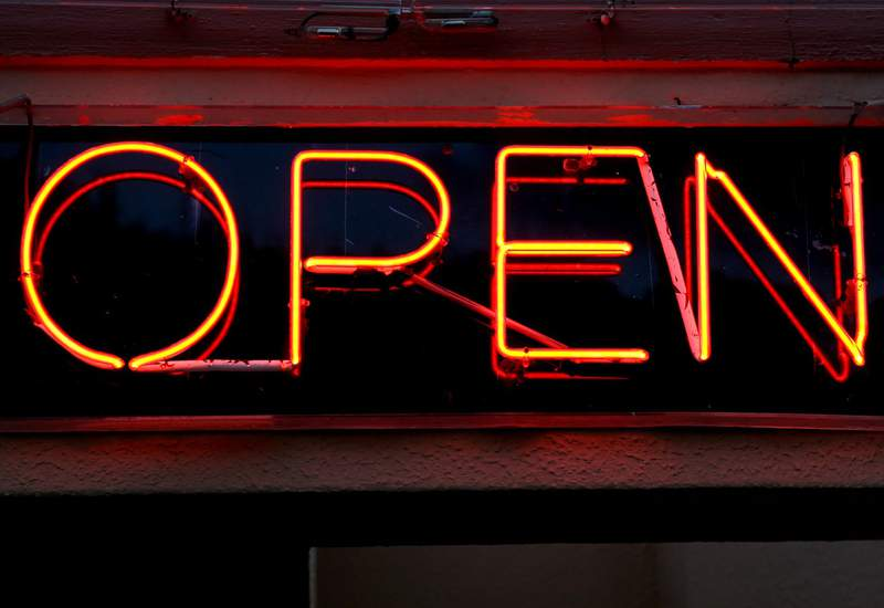 Stock image of a neon open sign