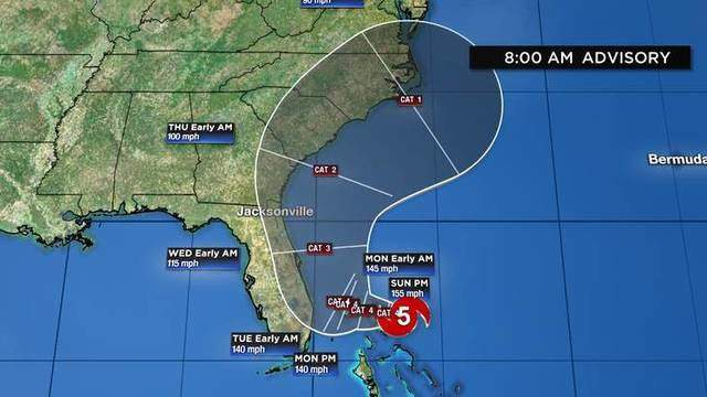 Hurricane Dorian is expected to hit the northern Bahamas in full force Sunday. (WDIV)