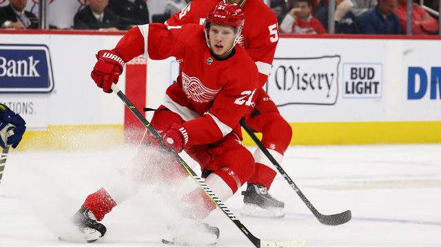 Dennis Cholowski of the Detroit Red Wings skates against the Vancouver Canucks at Little Caesars Arena on November 06, 2018 in Detroit. (Photo by Gregory Shamus/Getty Images)
