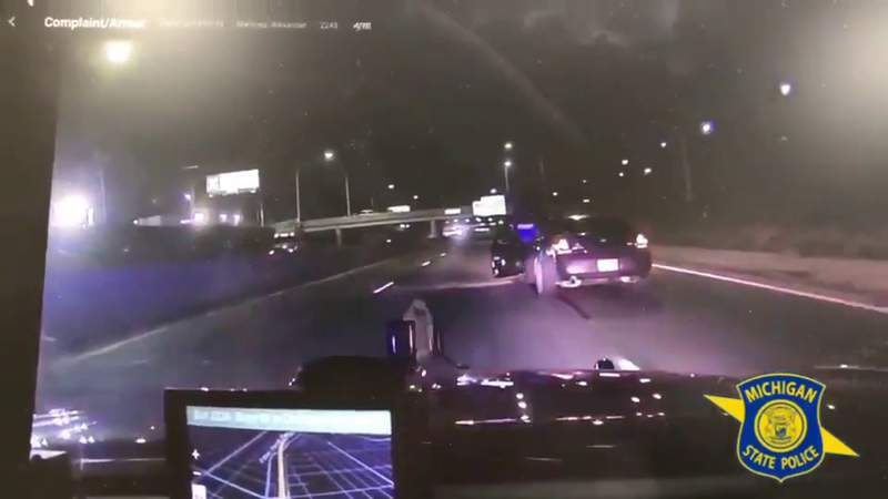 Video shows man swerving, crashing car on I-94 during MSP chase