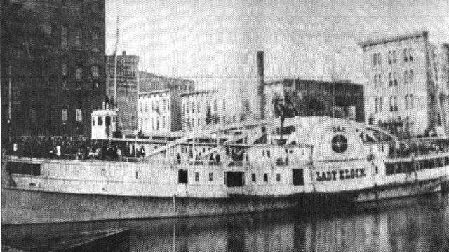 The PS Lady Elgin docked in Milwaukee before its final trip.