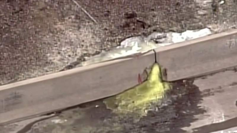 Police say a substance leaking onto I-696 is hexavalent chromium. (WDIV)