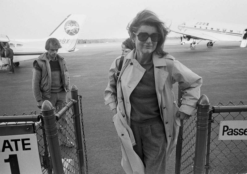 FILE  In this Nov. 21, 1983 file photo Jacqueline Kennedy Onassis arrives at the Barnstable Airport, in Hyannis, Mass., to observe the 20th anniversary of the assassination of President John F. Kennedy. The Marthas Vineyard estate of the former first lady is being sold to a pair of nonprofits that plan on turning the property into conservation land open to the public, officials said Thursday, Sept. 3, 2020. (AP Photo/Paul Benoit, File)