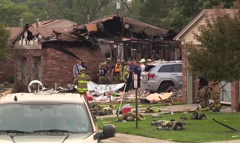 Fire crews respond to reported house explosion in Warren on July 4, 2021.