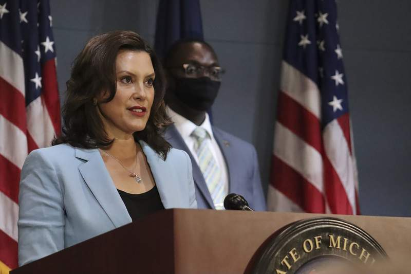 FILE -This July 9, 2020 file photo provided by the Michigan Office of the Governor shows Michigan Gov. Gretchen Whitmer as she addresses the state during a speech in Lansing, Mich. (Michigan Office of the Governor via AP, Pool)