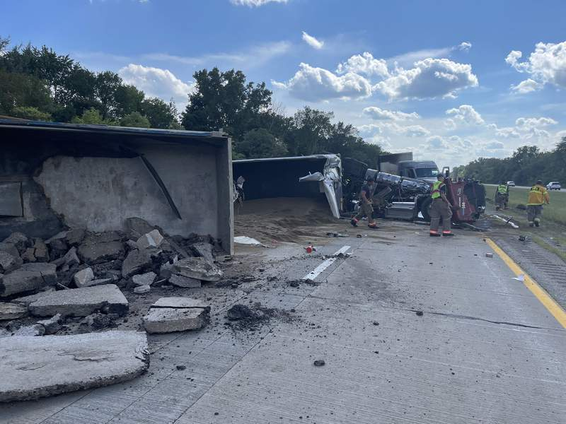 The scene of an Aug. 30, 2021, fatal crash involving four semi trucks on M-14 near Miller Road in Ann Arbor Township.