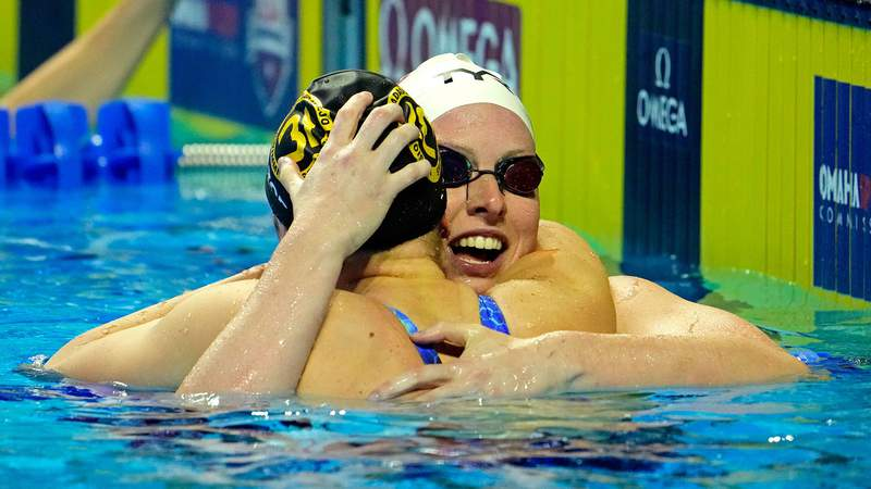 Jun 18, 2021; Omaha, Nebraska, USA; Annie Lazor celebrates with Lilly King after winning the Womens 200m Breaststroke Finals during the U.S. Olympic Team Trials Swimming competition at CHI Health Center Omaha. Mandatory Credit: Rob Schumacher-USA TODAY Sports