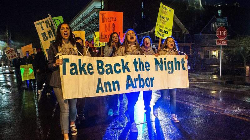Students march at the 38th annual Take Back the Night Ann Arbor on April 6, 2016 (Photo: Ruby Wallah)