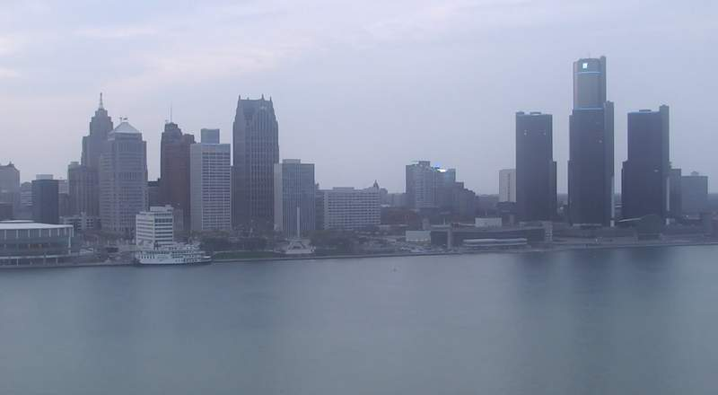 View of Detroit from the Windsor sky camera on April 28, 2020 at 8:19 p.m.