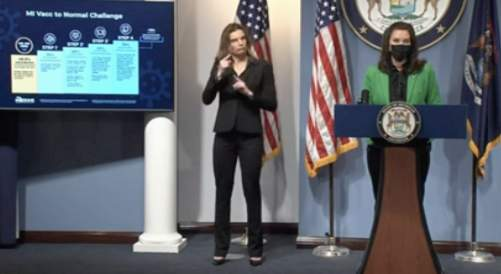 """Michigan Gov. Gretchen Whitmer outlines the """"MI Vacc To Normal"""" plan on April 29, 2021."""
