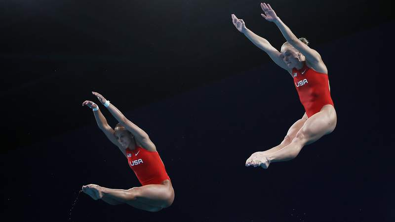 Delaney Schnell and Jessica Parratto earned the first United States Olympic medal in the women's synchronized platform competition.