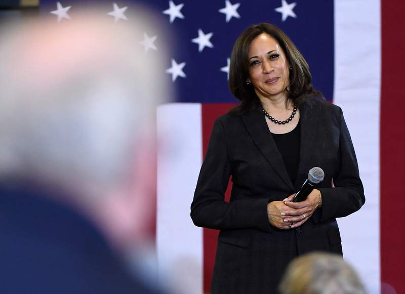 Then-Sen. Kamala Harris takes a question during a town hall meeting at Canyon Springs High School on March 1, 2019 in North Las Vegas, Nevada.