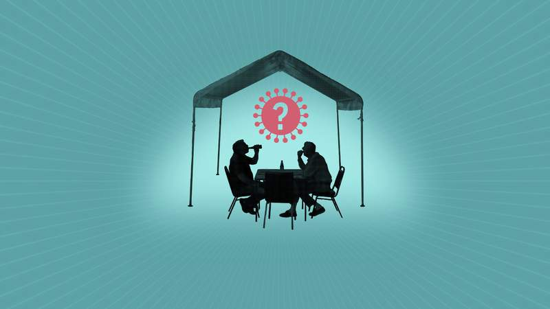 Are dining tents a safe way to eat out during the pandemic? AP Illustration/Peter Hamlin