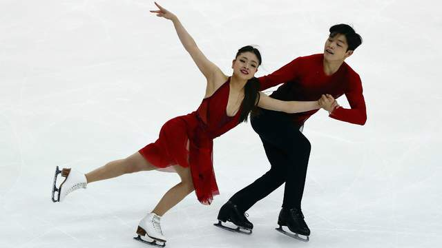 Maia Shibutani and Alex Shibutani of the United States compete in the Ice Dance Free Dance during day three of 2017 Bridgestone Skate America at Herb Brooks Arena on November 26, 2017 in Lake Placid, New York. (Photo by Tim Bradbury/Getty Images)