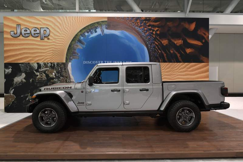 BOSTON, MA - JANUARY 17:  Gladiator Brand Manager Brandon Girmus discusses the 2020 Jeep Gladiator at the 2019 New England International Auto Show Press Preview at Boston Convention & Exhibition Center on January 17, 2019 in Boston, Massachusetts.  (Photo by Paul Marotta/Getty Images)
