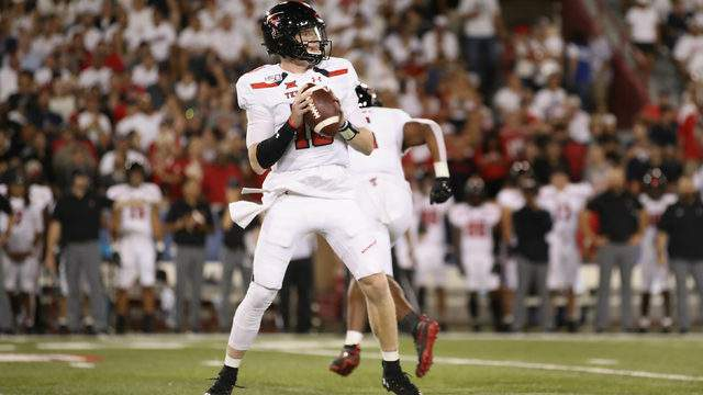 Quarterback Alan Bowman #10 of the Texas Tech Red Raiders looks to pass during the first half of the NCAAF game against the Arizona Wildcats at Arizona Stadium on September 14, 2019 in Tucson, Arizona. (Photo by Christian Petersen/Getty Images)