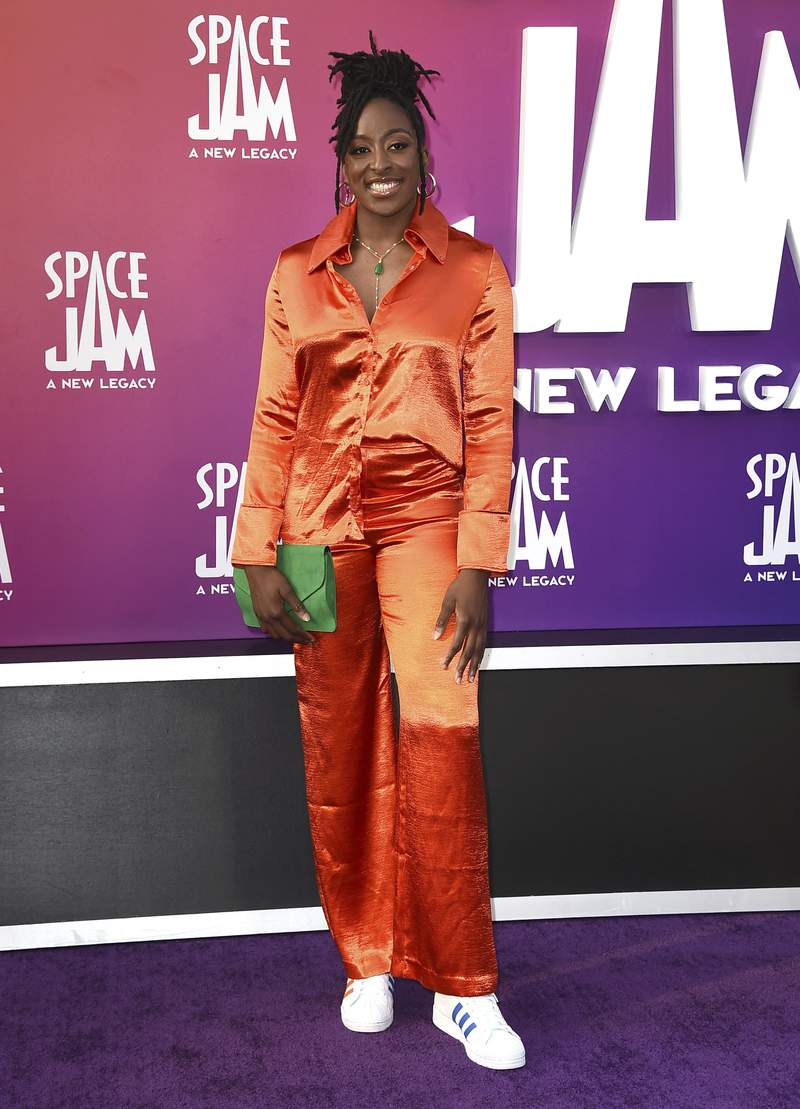 """WNBA basketball player Nneka Ogwumike, of the Los Angeles Sparks, arrives at the world premiere of """"Space Jam: A New Legacy"""" on Monday, July 12, 2021, at Regal L.A. Live in Los Angeles. (Photo by Jordan Strauss/Invision/AP)"""